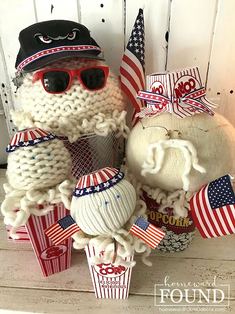 DIY, Fourth of July, original designs, re-purposing, red white and blue, summer, sweaters, Sweet Sweater Pops, Sweet Sweater Sandbabies, Sweet Sweater Scoops, Sweet Sweater Snowmen, foofoo Faux Food
