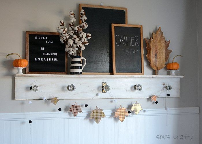 Fall Mantel with chalkboards and letterboard