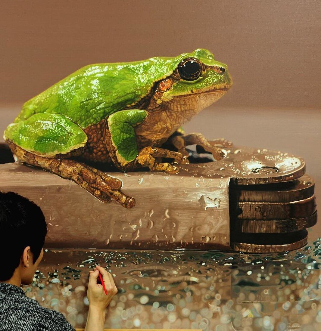 03-Frog-on-Metal-Young-sung-Kim-Realistic-Animal-Oil-Paintings-on-Canvas-www-designstack-co