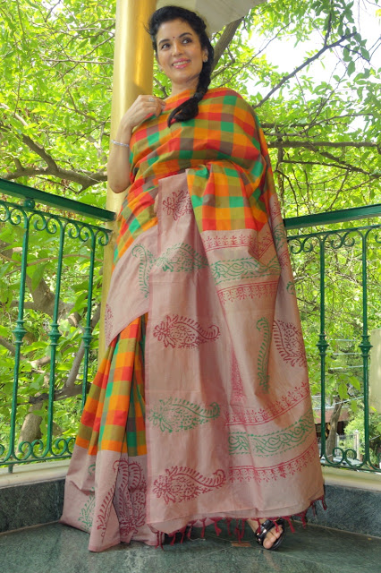 Madras checks hand-painted concept saree
