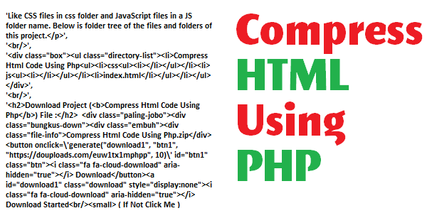 Compress HTML Using PHP