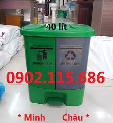 Thùng rác chia ngăn, thùng rác 2 ngăn, thùng rác 40L, thùng phân loại rác,