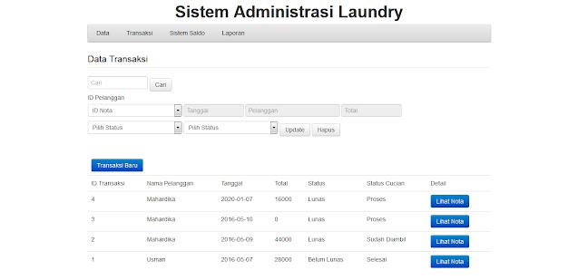 Administrasi Laundry Berbasis Web