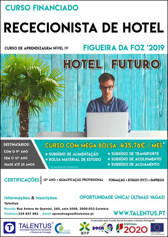 Curso de rececionista de hotel na Figueira da Foz (com bolsa de 435,76€/mês)
