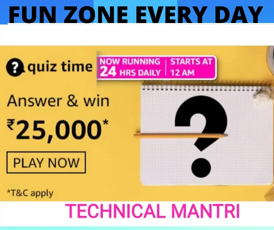 Amazon quiz answers today for 15th September 2021 Win 25000