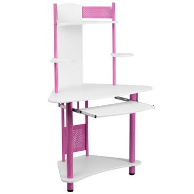 pink corner computer desk for student