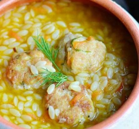 CHICKEN MEATBALL & ORZO HEARTY SOUP #veggies #veggiesoup
