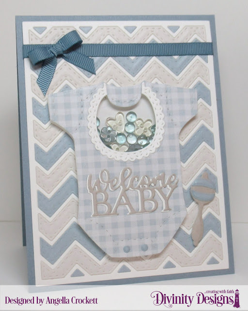 Divinity Designs Baby Boy Paper Pad, Chevron Backround Die, Baby Blessings Dies, Card Designer Angie Crockett