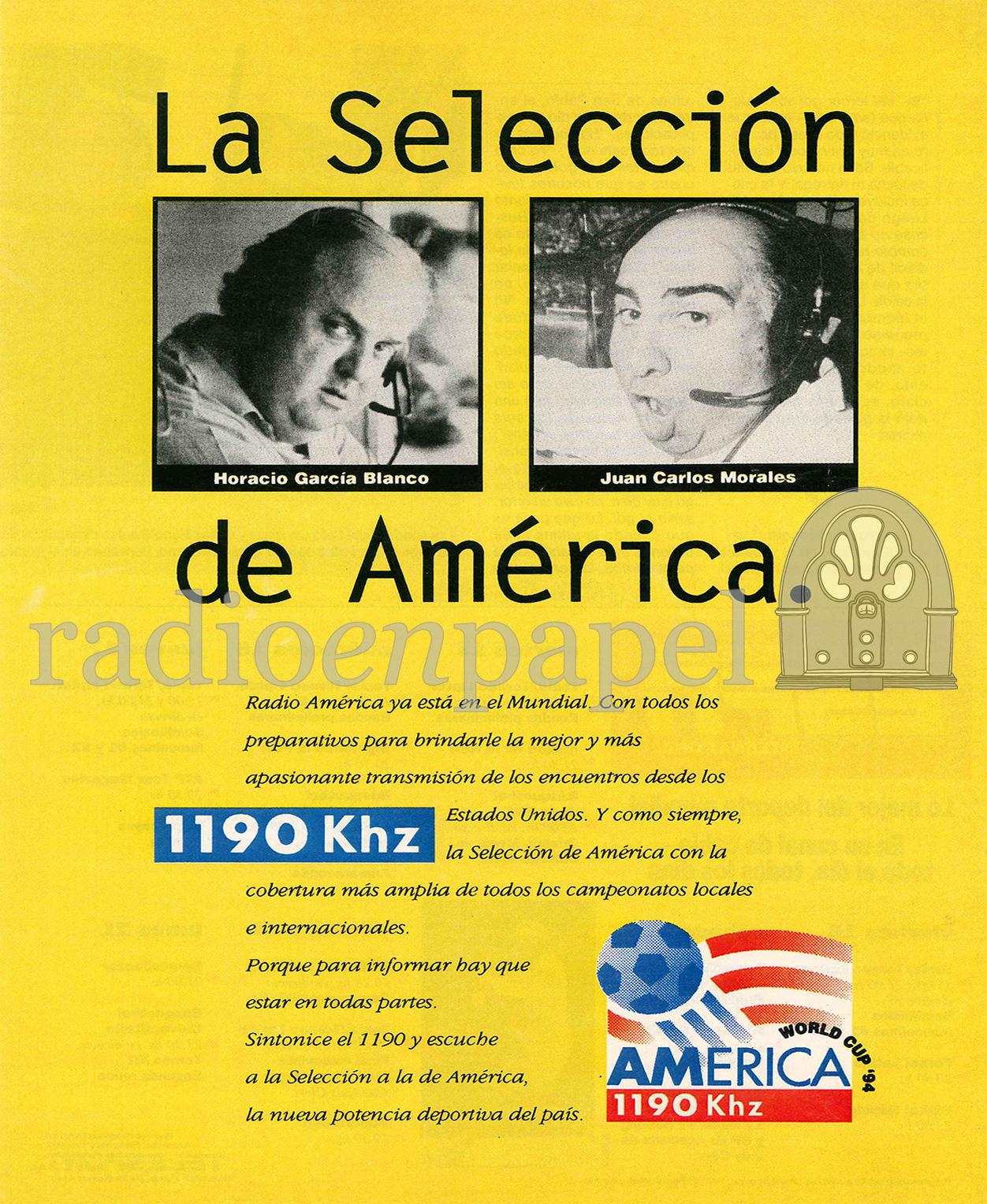 AM 1190 | América - La Selección de América 1994 | Radio en Papel. Archivo  Gráfico de Radio
