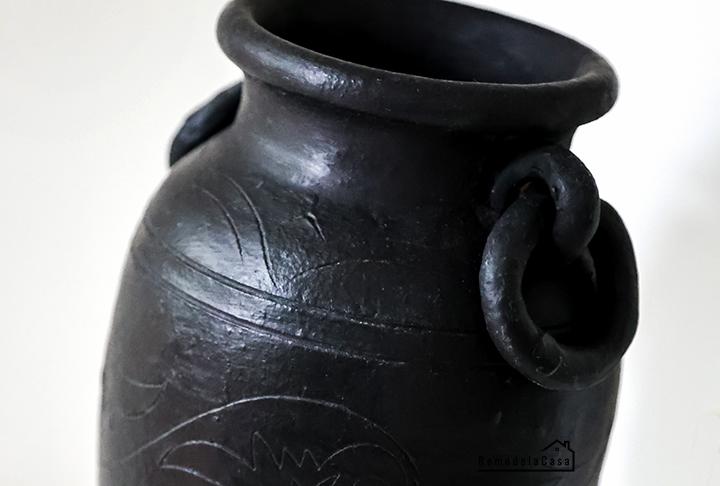 Old vase painted black