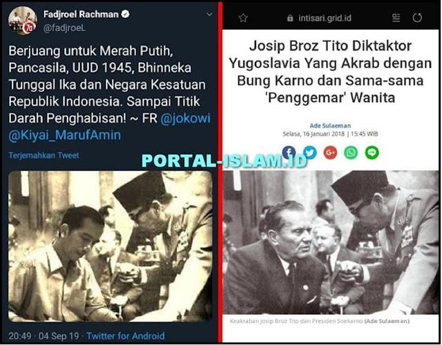 WADUH! Fadjroel Posting Foto Jokowi-Soekarno, Aslinya Itu Foto Josip Broz Tito Pemimpin Diktator Komunis Yugoslavia, JADI MAKSUDNYA??