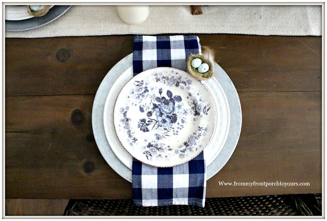 French Country Farmhouse-Dining Room-Dinnerware-Pottery Barn-Farmhouse Style-Vintage Style-Blue and White-Buffalo Check-From My Front Porch To Yours
