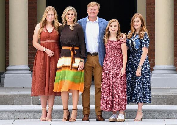 Queen Maxima wore Jan Taminiau short dress, Crown Princess Amalia Sandro embroidered tulle dress, Princess Alexia wore Sandro printed shirt dress