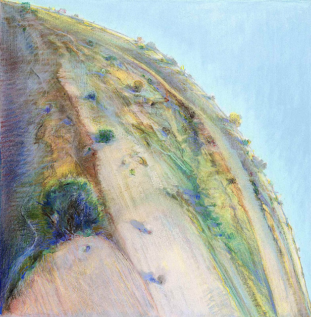 a Wayne Thiebaud painting of a strange stretched landscape