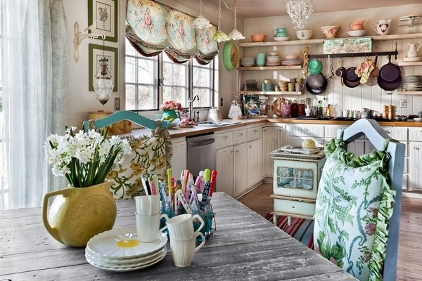 Kitchen Design Vintage Style cheap vintage shabby chic style kitchen design and decorating