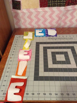 applique letters bright fabric word of the year