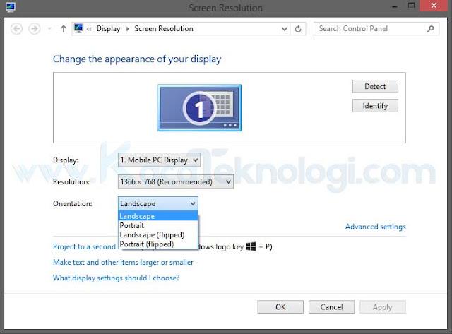 Bagaimana cara mengatasi dan mengembalikan layar laptop / komputer/ monitor yang terbalik (rotate) atau miring kembali ke tampilan dekstop seperti semula (menjadi normal) di Windows 7/8/10