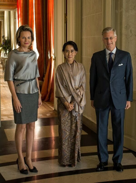King Philippe and Queen Mathilde of Belgium  received Aung San Suu Kyi at the Royal Palace in Brussels