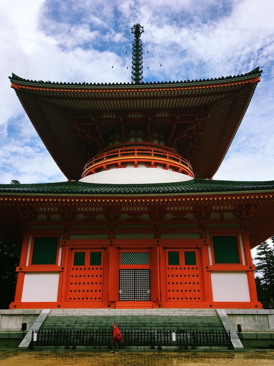 Red pagoda on the grounds of Danjo-garan in Koyasan Japan