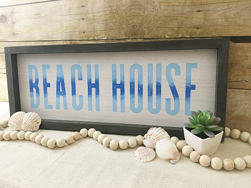 blue beach house mantel sign shells succulents farmhouse beads