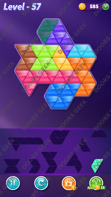 Block! Triangle Puzzle Proficient Level 57 Solution, Cheats, Walkthrough for Android, iPhone, iPad and iPod