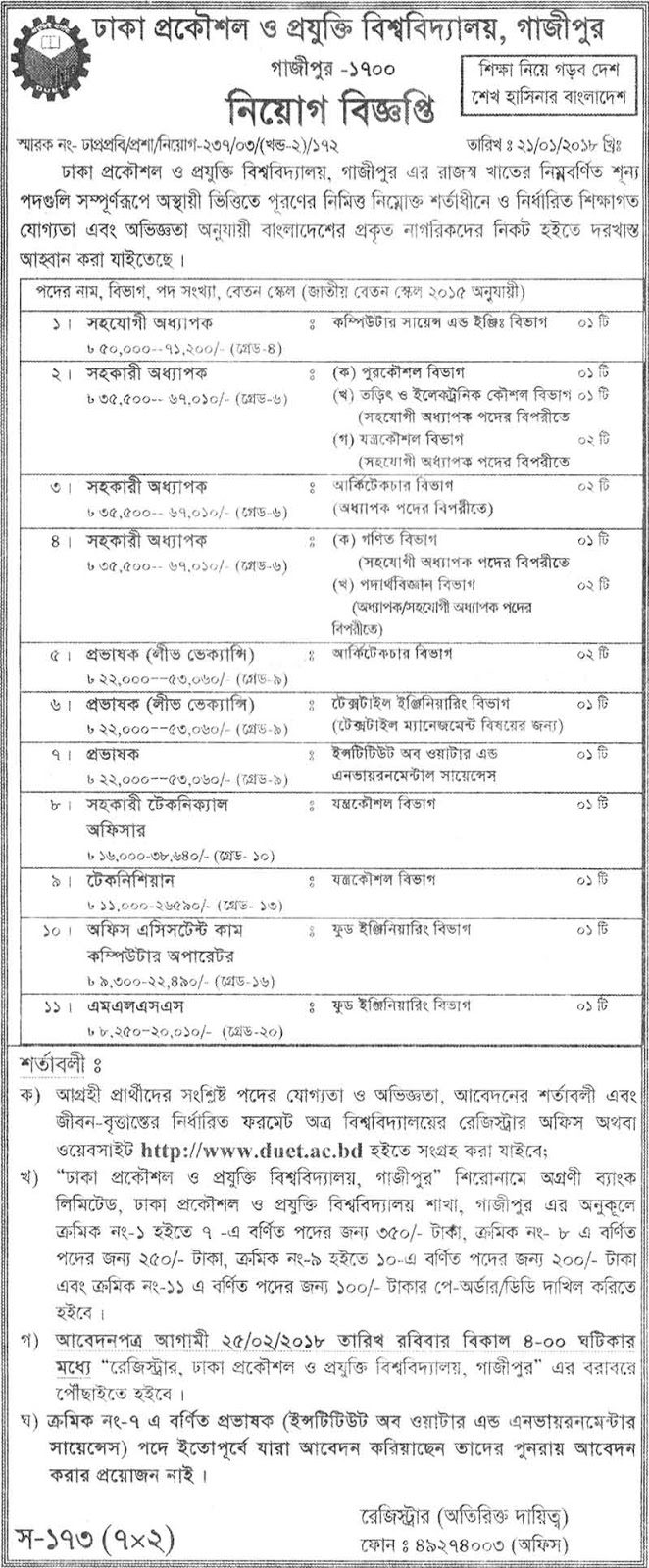 DUET Professor and Lecturer Recruitment Circular 2018
