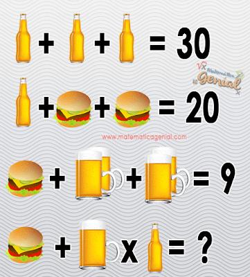 Desafio: Quanto vale hambúrguer mais caneca vezes garrafa?