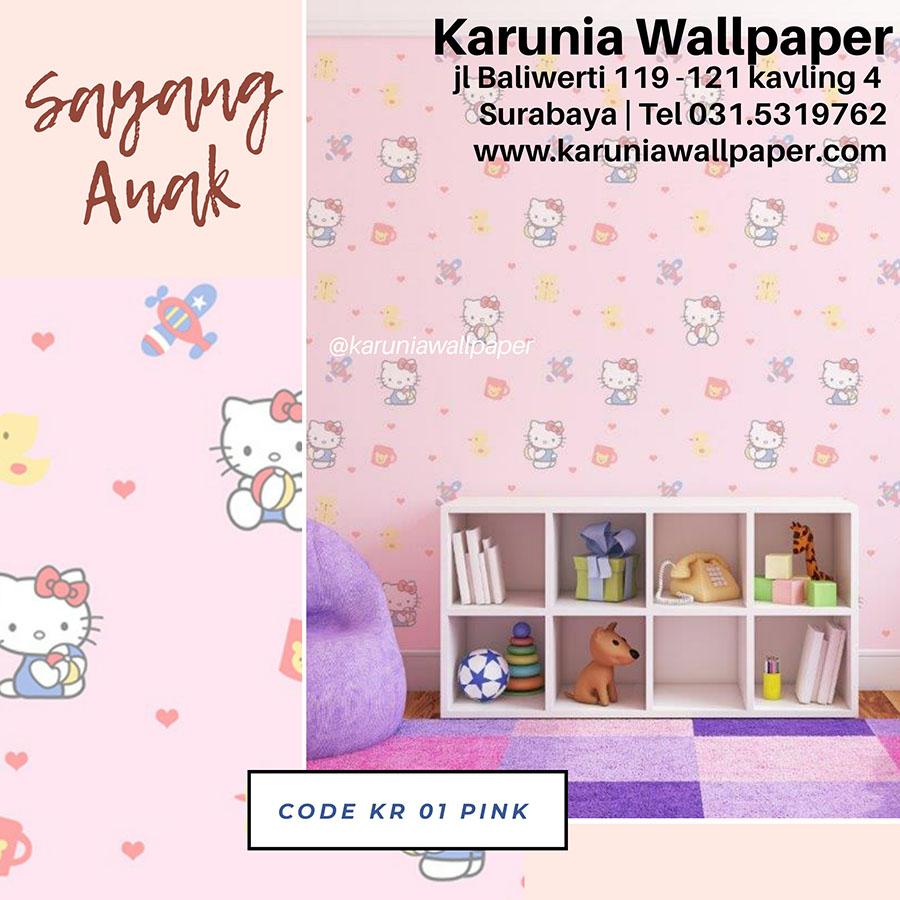 jual wallpaper dinding kamar anak perempuan hello kitty
