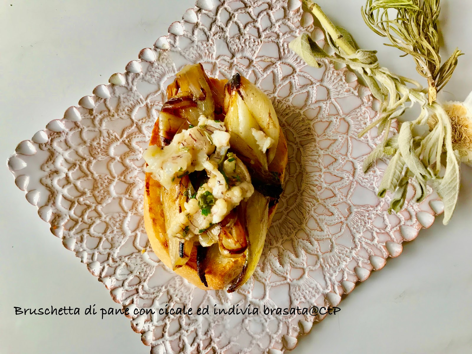 Bruschetta di pane con cicale ed indivia brasata alessandra ruggeri
