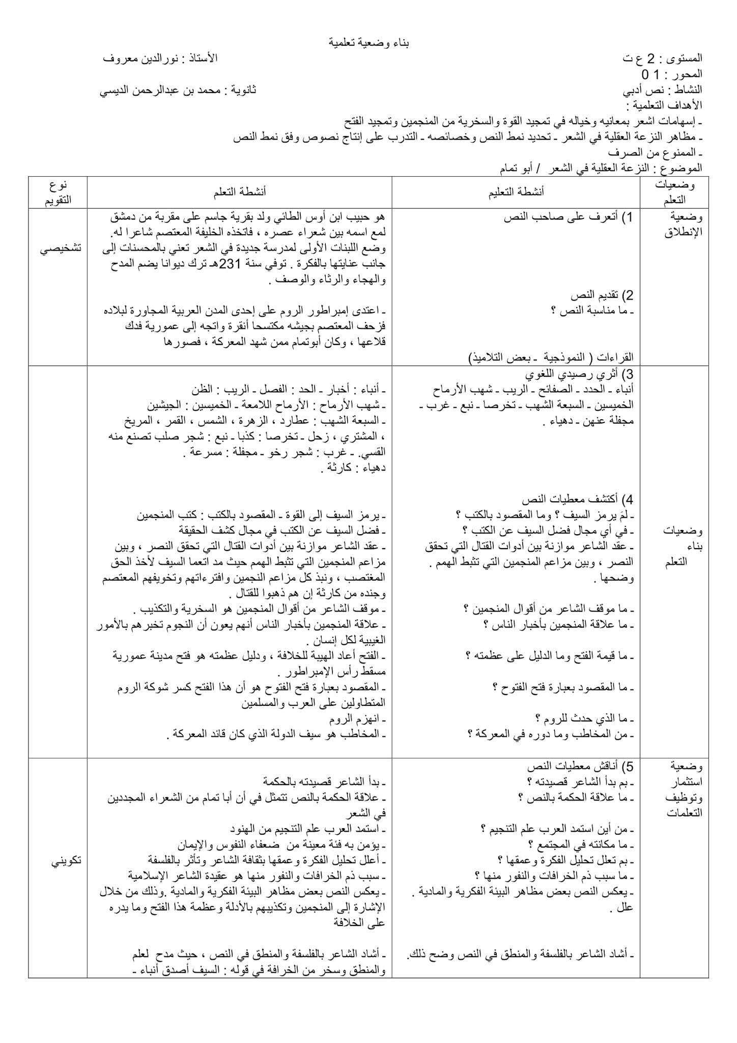 تحضير النزعة العقلية في الشعر 2 ثانوي علمي صفحة 11 من الكتاب المدرسي
