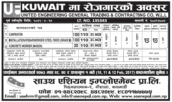 Jobs in Kuwait for Nepali, Salary Rs 38,765