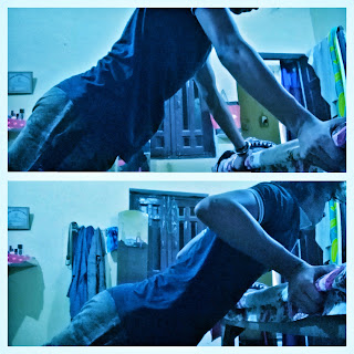 A teenager doing reverse grip inclined push ups