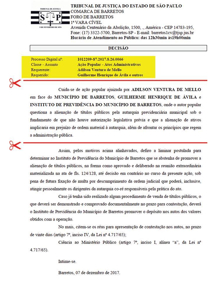 PERDEU DE NOVO: JUSTIÇA DE BARRETOS BLOQUEIA TENTATIVA DO PREFEITO GUILHERME ÁVILA VENDER TÍTULOS DO FUNDO DE PREVIDÊNCIA DE BARRETOS (CULTURA FM DE GUAIRA-SP)