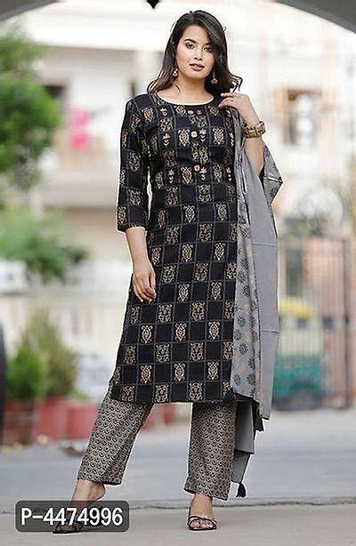 Black Rayon kurta pant with dupatta