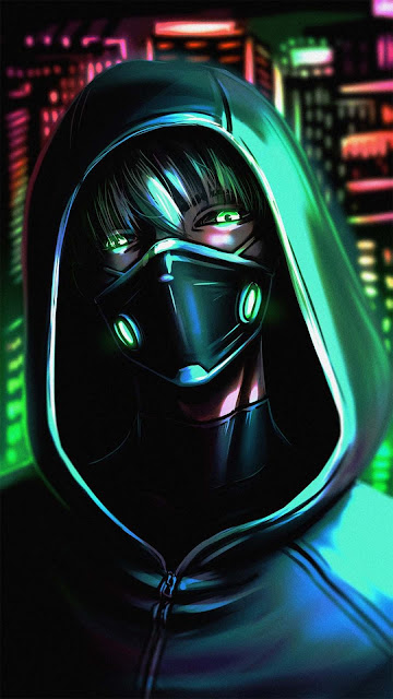 21 Hood Night Neon Mask Wallpapers Ultra HD 4K for iPhone and Android