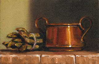 Oil painting of a bunch of asparagus spears beside a small copper pot with handles.