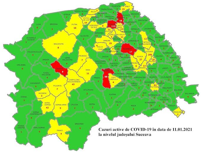 Situația cazurilor COVID-19 la nivelul județului Suceava. Vatra Dornei rămâne în scenariul galben cu 42 de cazuri active