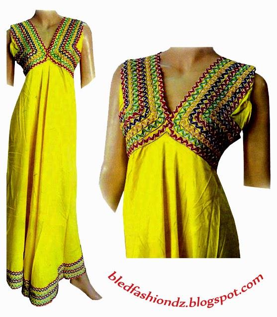 robe de maison algerienne 2015 la mode alg 233 rienne robe interieure jaune kabyle. Black Bedroom Furniture Sets. Home Design Ideas