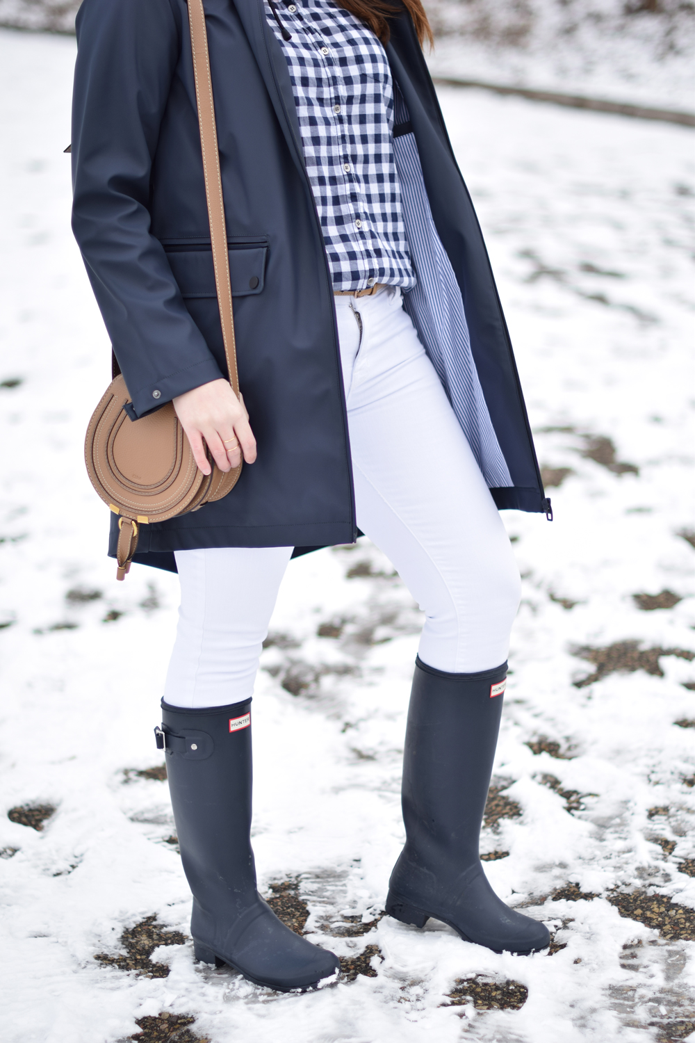 Preppy rainy day outfit.