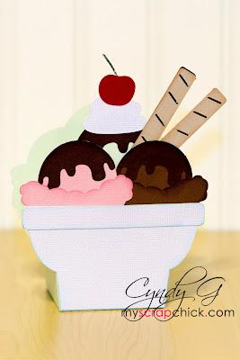 A treat box shaped like a bowl of ice cream