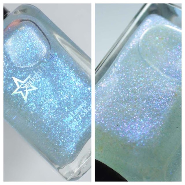 blue fleck nail polish topper in bottle