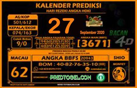 Kalender Prediksi Bacan4D Macau Minggu 27 September 2020