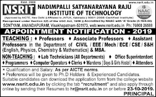 Visakhapatnam , NSRIT  Assistant Professor , Lab Technicians, Clerks Nadimpalli Satyanarayana Raju Institute of Technology   Govt Jobs 2019 Recruitment  Apply Online