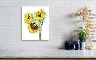 Sunflowers Watercolor Painting on White artist Irina Sztukowski