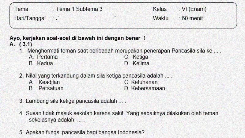 Soal dan Jawaban Penilaian Semester 1 Kelas 6 Tema 1 Subtema 3