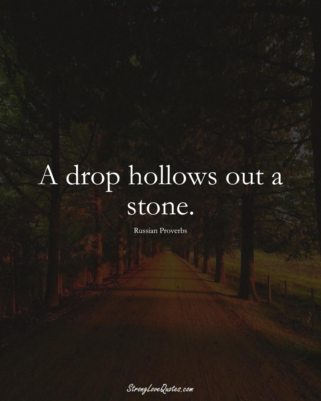 A drop hollows out a stone. (Russian Sayings);  #AsianSayings