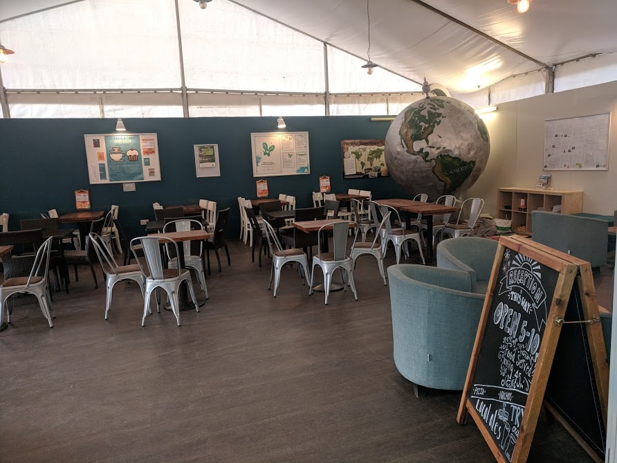 Staying in a Recycled Shipping Container at The Eden Project - YHA Eden Project Review  - communal bar area