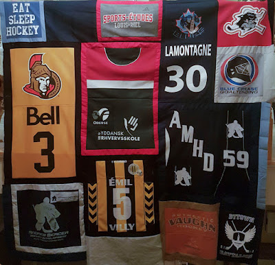 the great hockey jersey quilt in progress