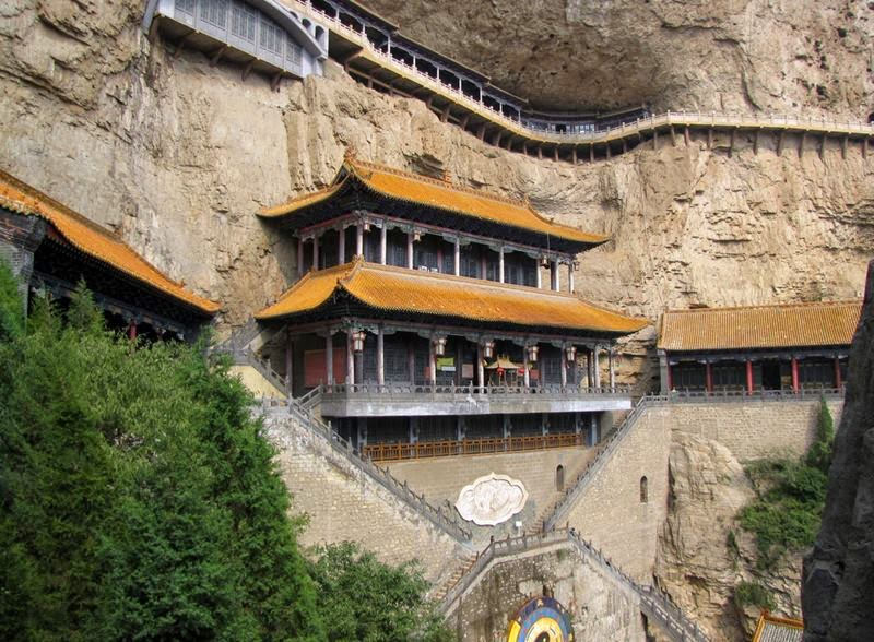 Mianshan - Sky Bridge —  This is a breathtaking place! The temple structures and the sky walk built on the mountain with the scenery around are just amazing!