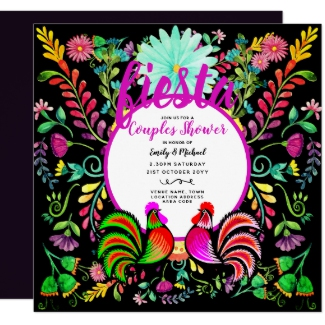 fiesta couples shower invitation folk flowers